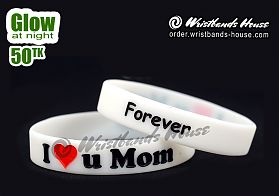 I Love U Mom White Glow 1/2 Inch